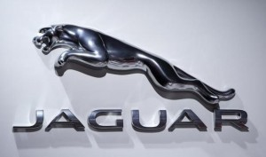 A Jaguar logo is pictured at the Jacob Javits Convention Center during the New York International Auto Show in New York