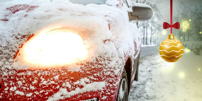 Snowflakes on picture of car with bell